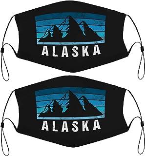 Kids Face Masks Set of 2 with 4 Filters Alaska Mountain Retro Washable Reusable Adjustable Black Breathable Cloth Bandanas...