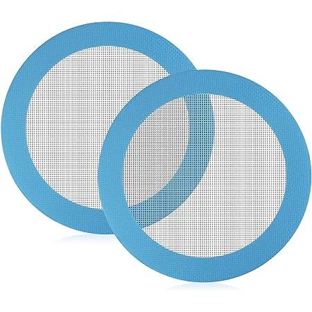 GOLRISEN 2 PCS Tapis de Cuisson en Silicone Tapis de Patisserie Rond Anti-Adhérent Tapis de four Réutilisable Plaque Cuisson Silicone pour Gâteau Pain Macaron Pizza, Bleu, Diamètre 20 cm