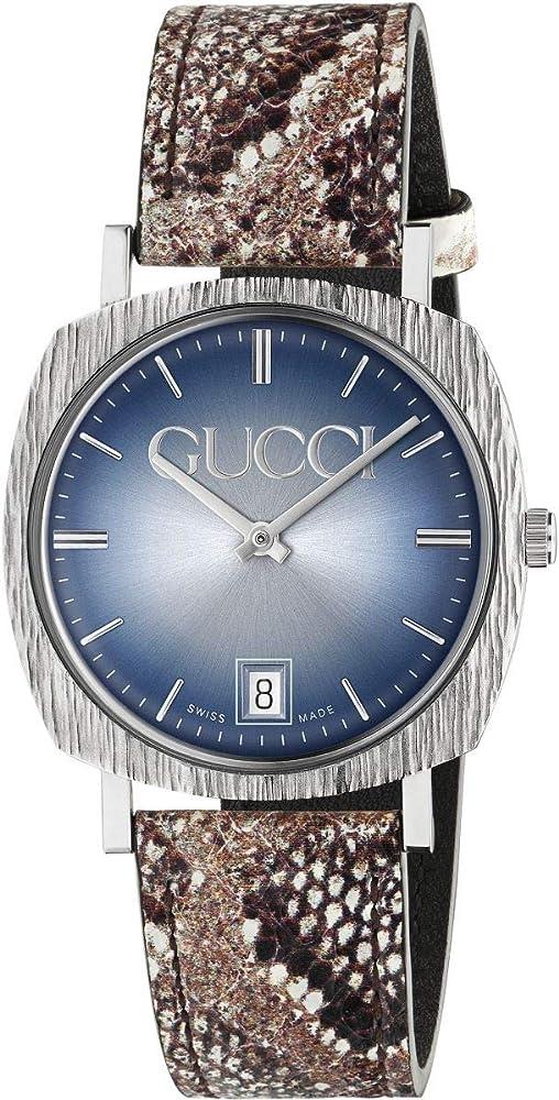 Gucci orologio donna Cassa in acciaio quadrante argentato e azzurro con logo Gucci Cinturino In Pelle YA152401