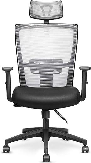 mfavour Ergonomisch Schreibtischstuhl Bürostuhl drehstuhl Computerstuhl mit Netz-Design-Sitzkissen, Verstellbare Wippfunktion, Armlehne, Sitzhöh,…