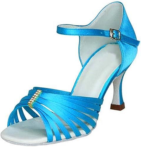 LEIT YFF Cadeaux Femmes Dance Danse Danse Latine Dance Tango Chaussures 8CM,bleu,35