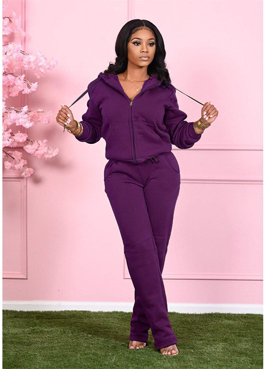 Womens Fleece Lined Two Piece Outfits Tracksuits 2 Pc Sets Jacket Hoodie Skinny Sweatpants Jogger Pants Sweatsuits