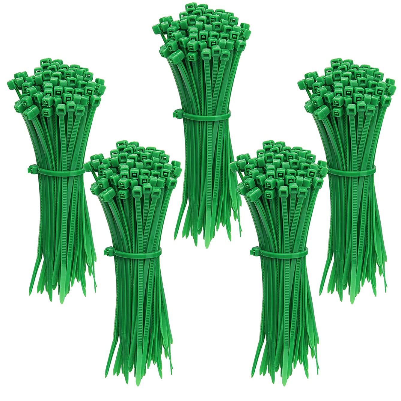 Livder 500 Pieces Green Heavy Self-Locking Nylon Zip Cable Ties, 4 Inch