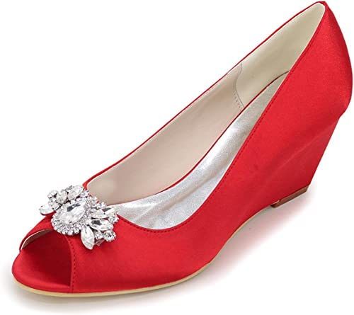 Elegant Chaussures Femme Chaussures à Talons Bas à Talons Peep Toe Mariage Fête et soirée Argent Bleu Violet Blanc Rouge