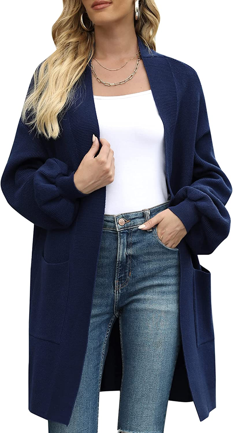 Uniexcosm Women's Open Front Cardigan Sweaters Long Sleeve Chunky Knitted Sweater Coats with Pockets
