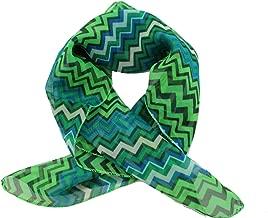 TFJ Women Fashion Small Neck Scarf Sheer Fabric Geometric Chevron Pocket Square Green