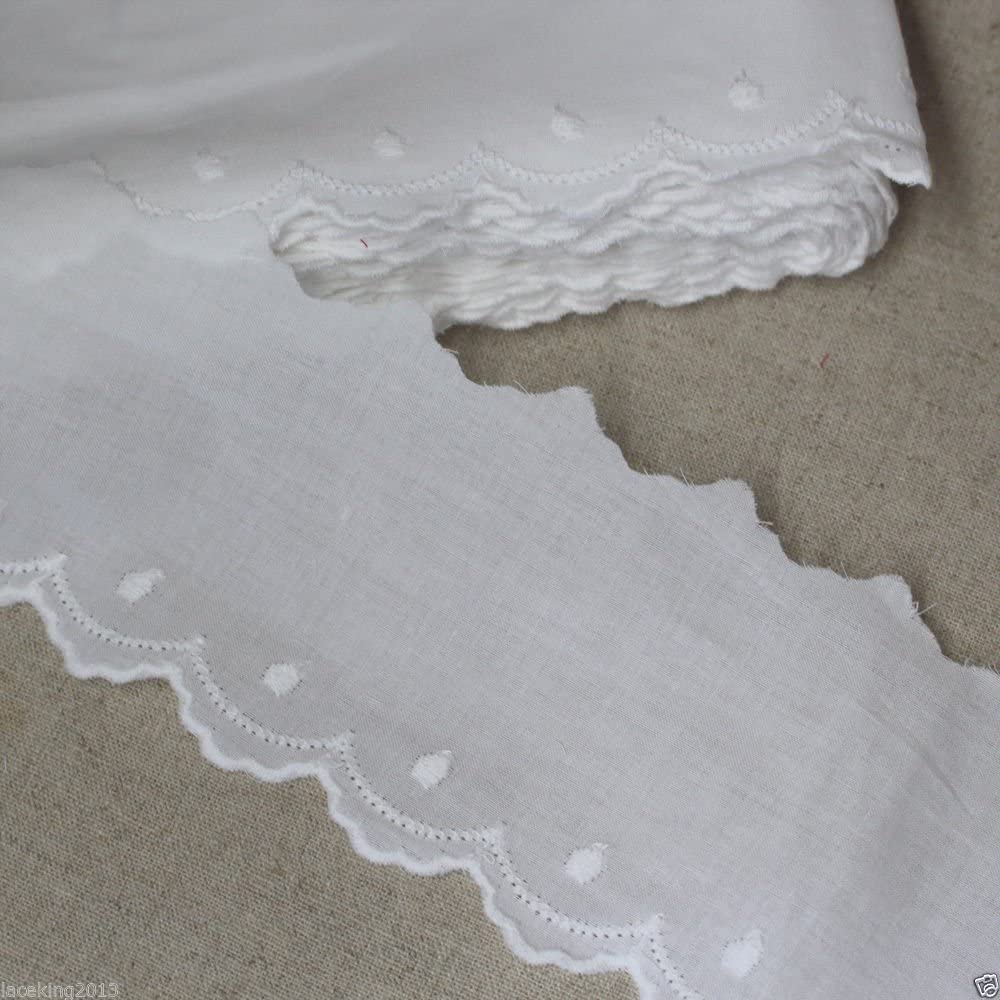 14Yds Broderie Anglaise cotton Seattle Mall eyelet trim 6.5cm Bombing new work Wh YH1352 lace