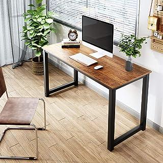 FSTAR Bureau d'ordinateur de 140 cm, design simple et moderne, robuste, table d'écriture pour bureau à domicile, grand esp...