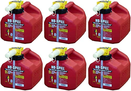 lowest No-Spill lowest 1415 1-1/4-Gallon Poly outlet online sale Gas Can (CARB Compliant) , 6 Pack online sale