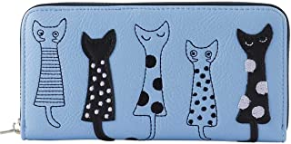 Women's Wallet Cute Cartoon Embroidery Cat Leather Zipper Long Clutch Purse for Card, Mobile Phone, Coin, Cash