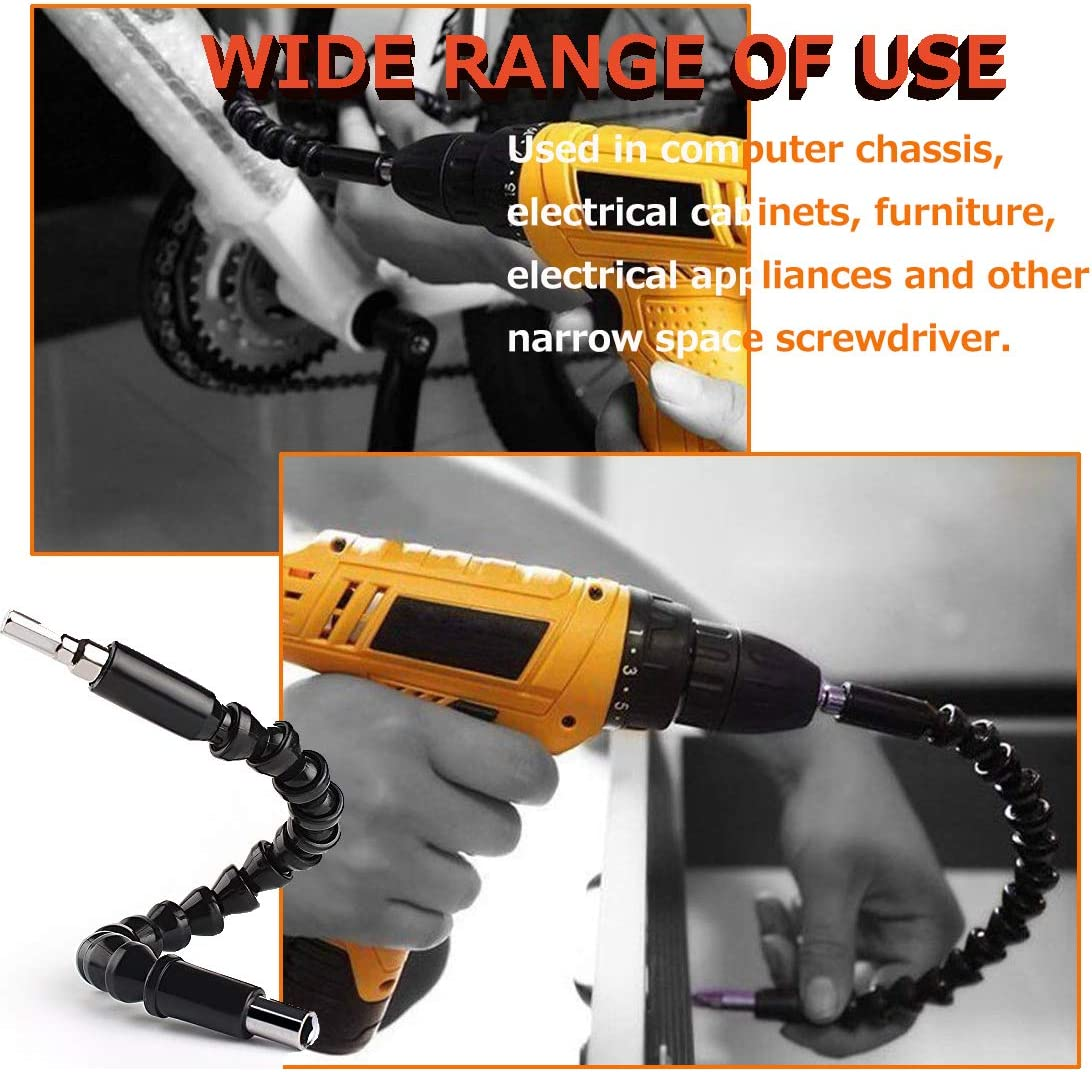 Flexible Screwdriver Extension Kit for Connect Drive Shaft Tip Drill Bit Multi-angle Adapter YTFGGY 1//4 Magnetic Hex Soft Shaft 11.8 inch Flexible Drill Bit Extension with 10 Drill Bit Sets