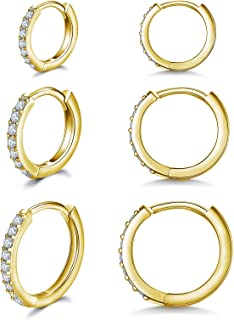 Sponsored Ad - 3 Pairs Small Gold Hoop Earrings|14K Gold Plated Cubic Zirconia Gold Huggie Earrings|Tiny Gold Hoops for Wo...