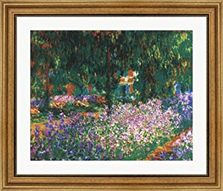 The Artist's Garden at Giverny, c.1900 (Green Trees) by Claude Monet Framed Art Print Wall Picture, Wide Gold Frame, 27 x 23 inches