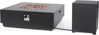 Christopher Knight Home 312976 Sidney Outdoor 40-Inch Square Fire Pit with Tank Holder, Brushed Brown