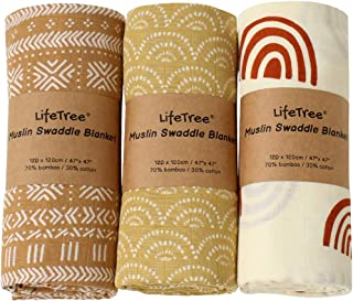 LifeTree 3 Pack Baby Swaddle Blankets - Soft Bamboo Cotton Muslin Swaddle Blankets - Earthy Color Collection, Lightweight,...