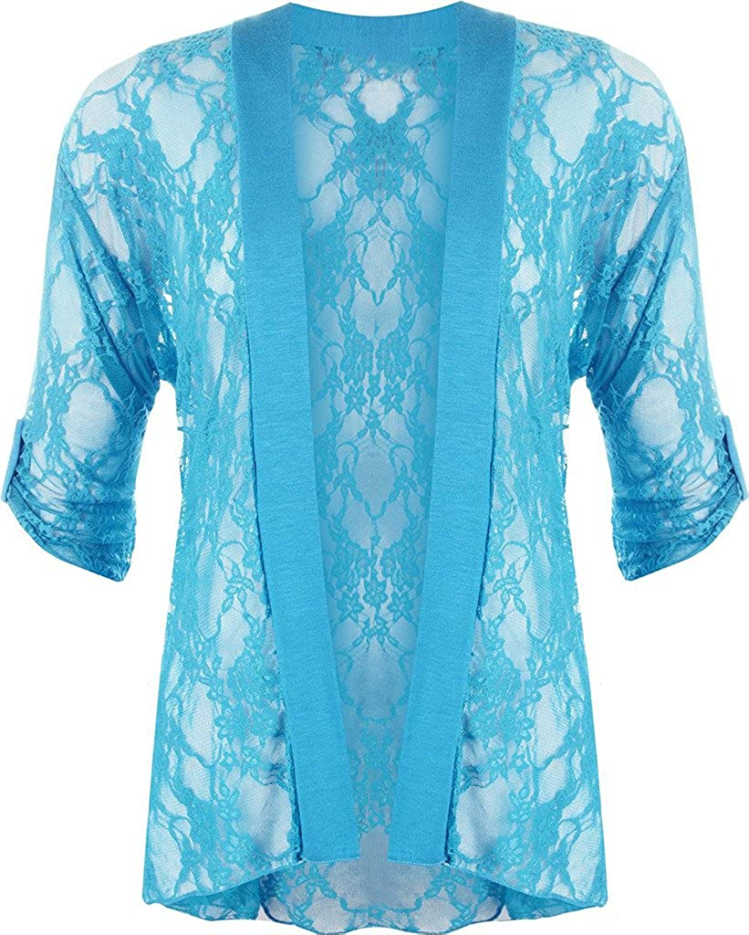 Rimi Hanger Ladies Womens Short Sleeves Lace Open Front Cardigan Shrug Sweater US 10 to US 24