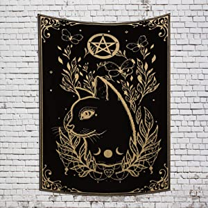 Musemailer Mystical Cat Tarot Tapestry 39.4x59.1inch Moon and Stars Bohemian Mysterious Tapestry for Walls Plants and Butterfly Psychedelic Black Gold Tapestry Wall Decor for Living Room Bedroom Dorm