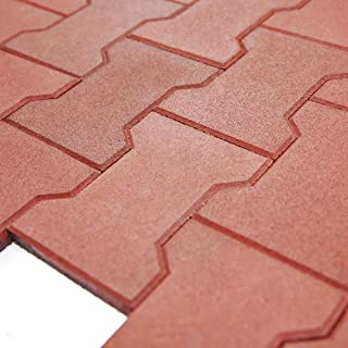 RevTime Garden Rubber Paver 3/4 Inch Thick for Patio and Garden Safety Rubber Walkways, Interlocked Rubber Paver, Park Sidewalk Paver, Terra Cotta (Pack of 20)