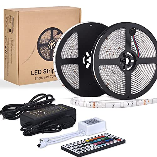 10m LED Ruban 5050 RGB 300 leds IP65 Étanche, ESEYE Kit Bande LED TV Rétroéclairage RGB 2.4W/m Flexible Multicolore Peut-Découpé Clignotant au Néon Decor Rubans Avec Télécommande/IR Récepteur/12V 5A
