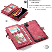 JEI-Men New CASEME for iPhone Xs 2-in-1 14 Slots Wallet Genuine Zip Leather Case,Accesories for iPhone Xs 5.8 inch,Screen Protector for iPhone Xs 5.8 inch (red)