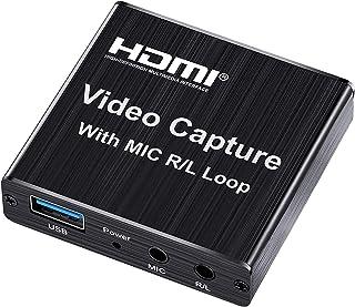 Placa de captura de vídeo, vídeo de jogo HDMI 4K com HDMI 1080P Loop Out 60 FPS Gravador de jogos com transmissão ao vivo ...