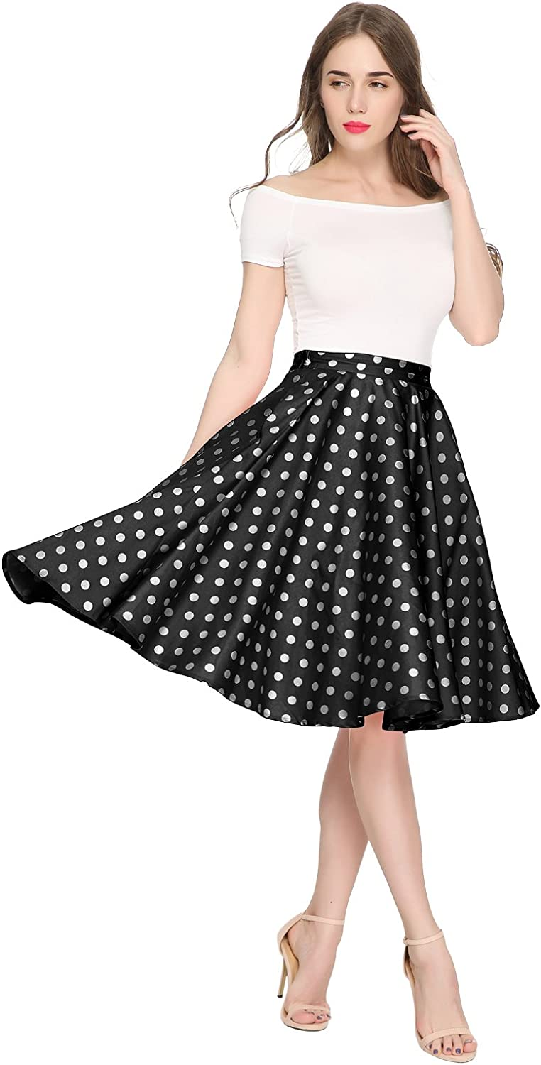 Maggie Tang 1950s Vintage Retro Polka Dots Swing Rockabilly Casual Party Skirts