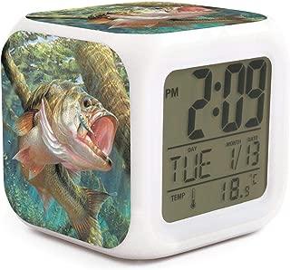 HONGMING Bass Fish LED Alarm Clock 7 Colors Desk Gadget Alarm Digital Thermometer Night Cube Bright Home Decor