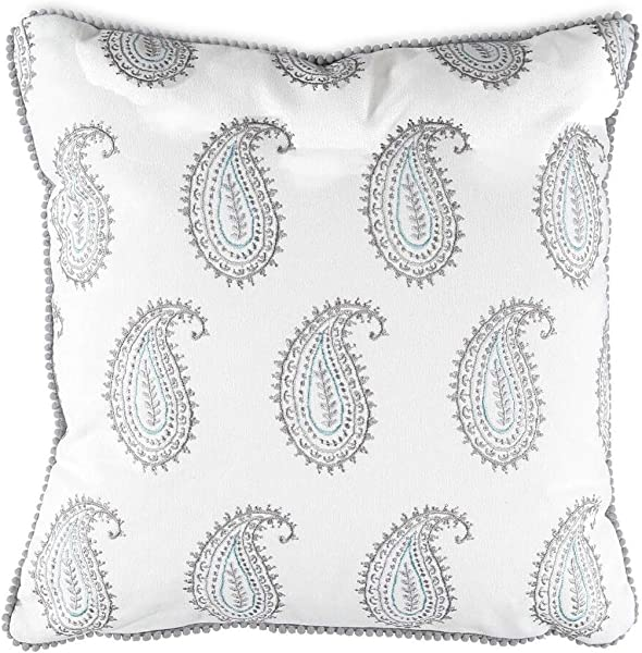 Levtex Kavi Gry Embrd Paisley Pillow 100 Cotton White Grey Spa