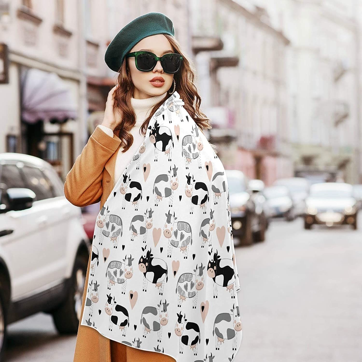 Scarf for Women and Men Cute Cows Love Shawl Wraps Blanket Scarf Soft warm Winter Oversized Scarves Lightweight