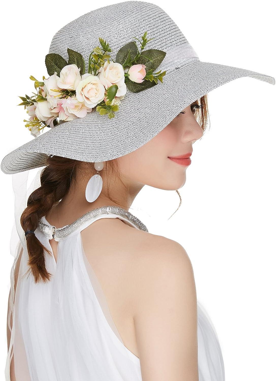 Kajeer Floppy Fascinator Tea Party Hats Flowers Straw Hat Women