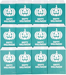 Teal Pumpkin Halloween Candy & Treat Bags (12 Pack) - Paper Bag Buckets for Kids & Adults - Great Party Favor & Decoration