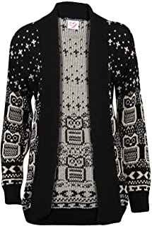 Women's Long Sleeve Owl Print Knit Cardigan