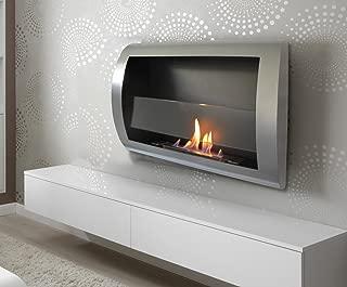 Chic Fireplaces Charleston Wall Mount Ventless Bio Ethanol Fireplace with Burner Insert, Grey Metal