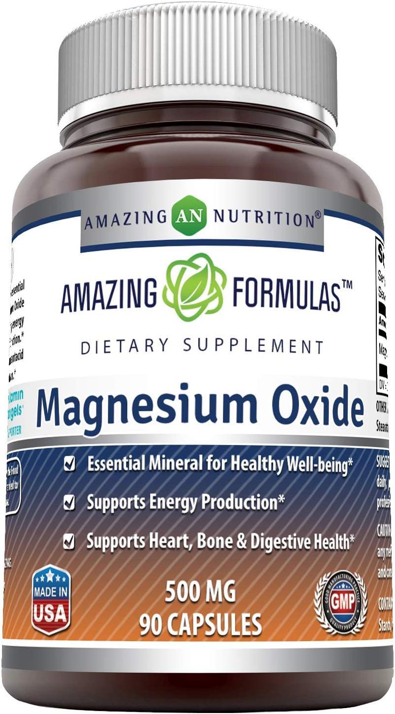 Amazing Max 59% OFF Formulas Magnesium Oxide Capsules Portland Mall 500mg 90 Supplement