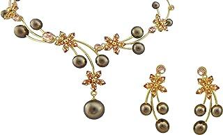 Hanessa, elegante set di gioielli da donna con fiori e perle, effetto collana e orecchini placcati in oro con pietre di cr...