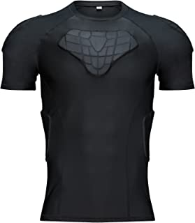 TUOY Men's Padded Compression Shirt Rib Chest Protector for Football Paintball