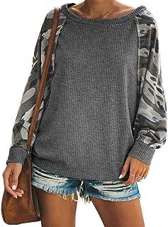 JooMeryer Women's Camo Print Pullover Long Sleeve Loose Fit Casual Sweatshirts