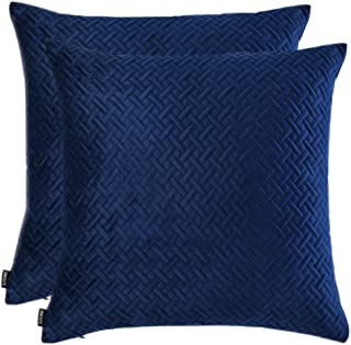 Artcest Set of 2, Decorative Velvet Bed Throw Pillow Case, Sofa Soft Quilted Pattern, Comfortable Couch Cushion Cover, 14
