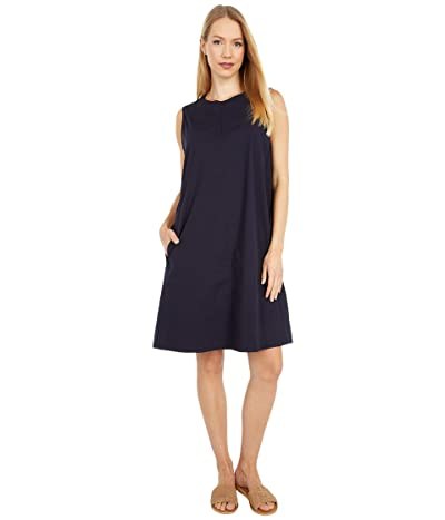 Eileen Fisher Zip Neck Knee Length Dress (Ink) Women