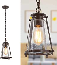 "KSANA Bronze Pendant Lighting for Kitchen Island, Rustic Industrial Pendant Light with Seeded Glass Shade, 7.5""W"