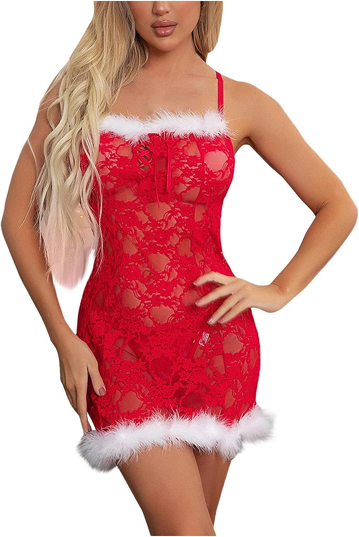 CofeeMO Women Christmas Sexy Sling Nightdress Womens Sleeveless Lace Red Underwear V Neck Plus Size Lingerie Gauze Pajamas