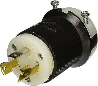 Hubbell HBL2611 Locking Plug, 30 amp, 125V, L5-30P, Black and White