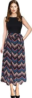 Womens Elegant Patchwork Pockets Print Work Casual A-Line Midi Dress