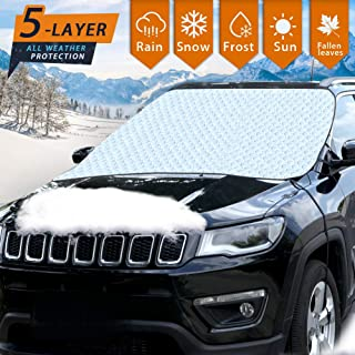 and Scratches Sun UV-Rays Waterproof and No Leakage with Anti-Theft Design Fire Retardant Cover 4350433883 Zento Deals Silver Car Rear Windshield Cover Protector from Winter Ice//Snow