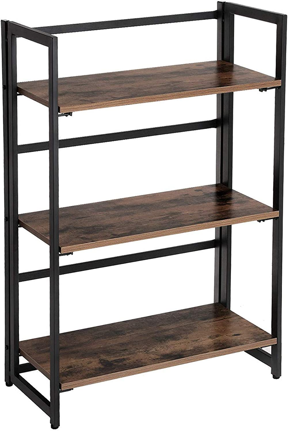 Benjara Metal Framed Ladder Style Folding Bookcase with Three Wooden Shelves, Brown Black