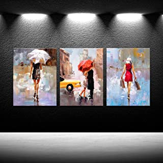 iKNOW FOTO Wooden Framed Wall Art Oil Painting Printed On Canvas Fahion Lady Under The Umbrella Posters Prints Stretched Ready to Hang HD Prints for Couple Bedroom Valentines Gift