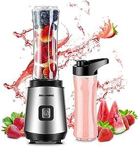REDMOND Personal Blender 20 oz Countertop Smoothie Blender 20000 RPM 300W with 600ml Travel Bottle for Milk Shakes juice Fruit Vegetable BPA Free