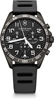 Victorinox Men's Stainless Steel Swiss Quartz Watch with Rubber Strap, Black, 21 (Model: 241926.1)