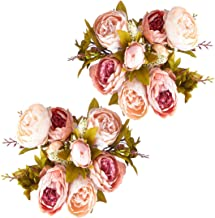 Foraineam Peonies Vintage Fake Flowers Wedding Centerpiece Home Decor Silk Artificial Flowers Peony Bouquets, Pack of 2 (Light Pink)