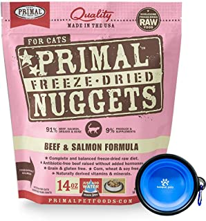 Primal Pet Food - Freeze Dried Cat Food Nuggets for Feline 14-Ounce Bag Bundle with Hotspot Pet Food Bowl - Made in USA